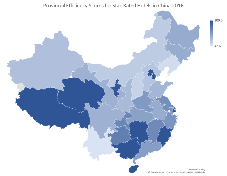 The Growing Efficiency of China's Star-Rated Hotels by Province 2003-2016